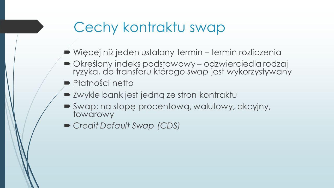 Cechy kontraktu swap  Więcej niż jeden ustalony termin – termin rozliczenia  Określony indeks podstawowy – odzwierciedla rodzaj ryzyka, do transferu którego swap jest wykorzystywany  Płatności netto  Zwykle bank jest jedną ze stron kontraktu  Swap: na stopę procentową, walutowy, akcyjny, towarowy  Credit Default Swap (CDS)