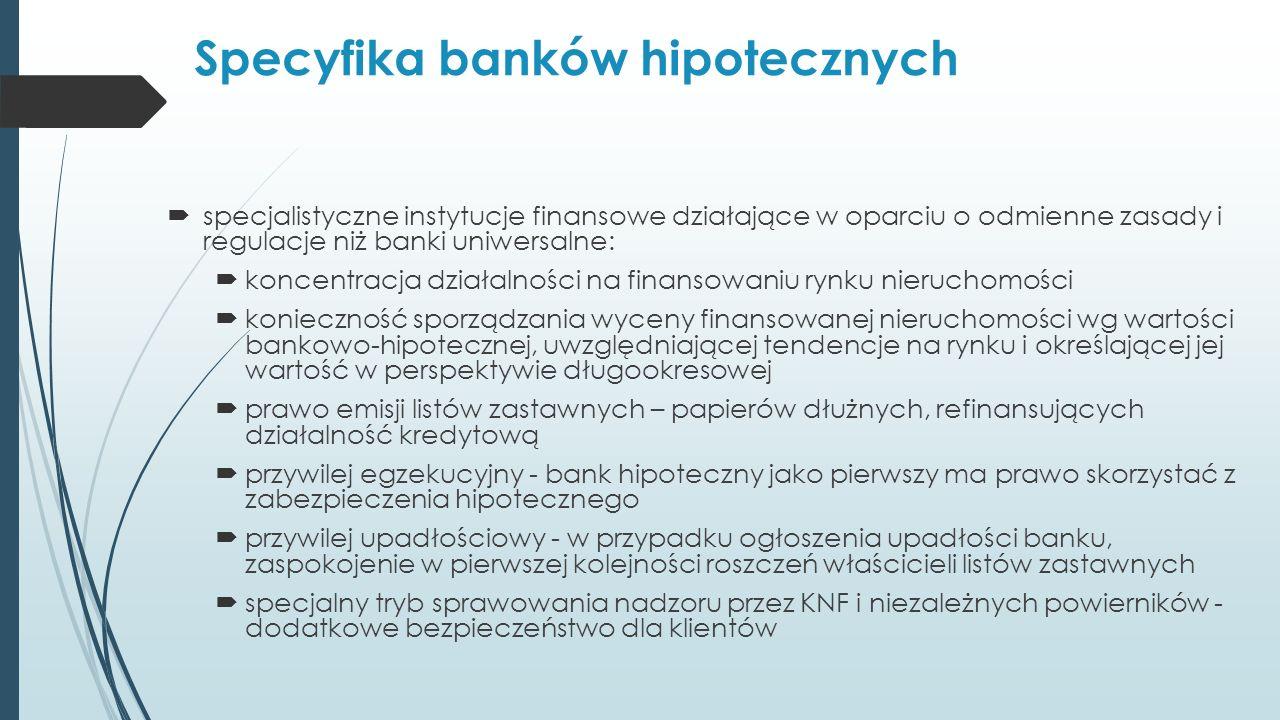 Specyfika banków hipotecznych  specjalistyczne instytucje finansowe działające w oparciu o odmienne zasady i regulacje niż banki uniwersalne:  koncentracja działalności na finansowaniu rynku nieruchomości  konieczność sporządzania wyceny finansowanej nieruchomości wg wartości bankowo-hipotecznej, uwzględniającej tendencje na rynku i określającej jej wartość w perspektywie długookresowej  prawo emisji listów zastawnych – papierów dłużnych, refinansujących działalność kredytową  przywilej egzekucyjny - bank hipoteczny jako pierwszy ma prawo skorzystać z zabezpieczenia hipotecznego  przywilej upadłościowy - w przypadku ogłoszenia upadłości banku, zaspokojenie w pierwszej kolejności roszczeń właścicieli listów zastawnych  specjalny tryb sprawowania nadzoru przez KNF i niezależnych powierników - dodatkowe bezpieczeństwo dla klientów