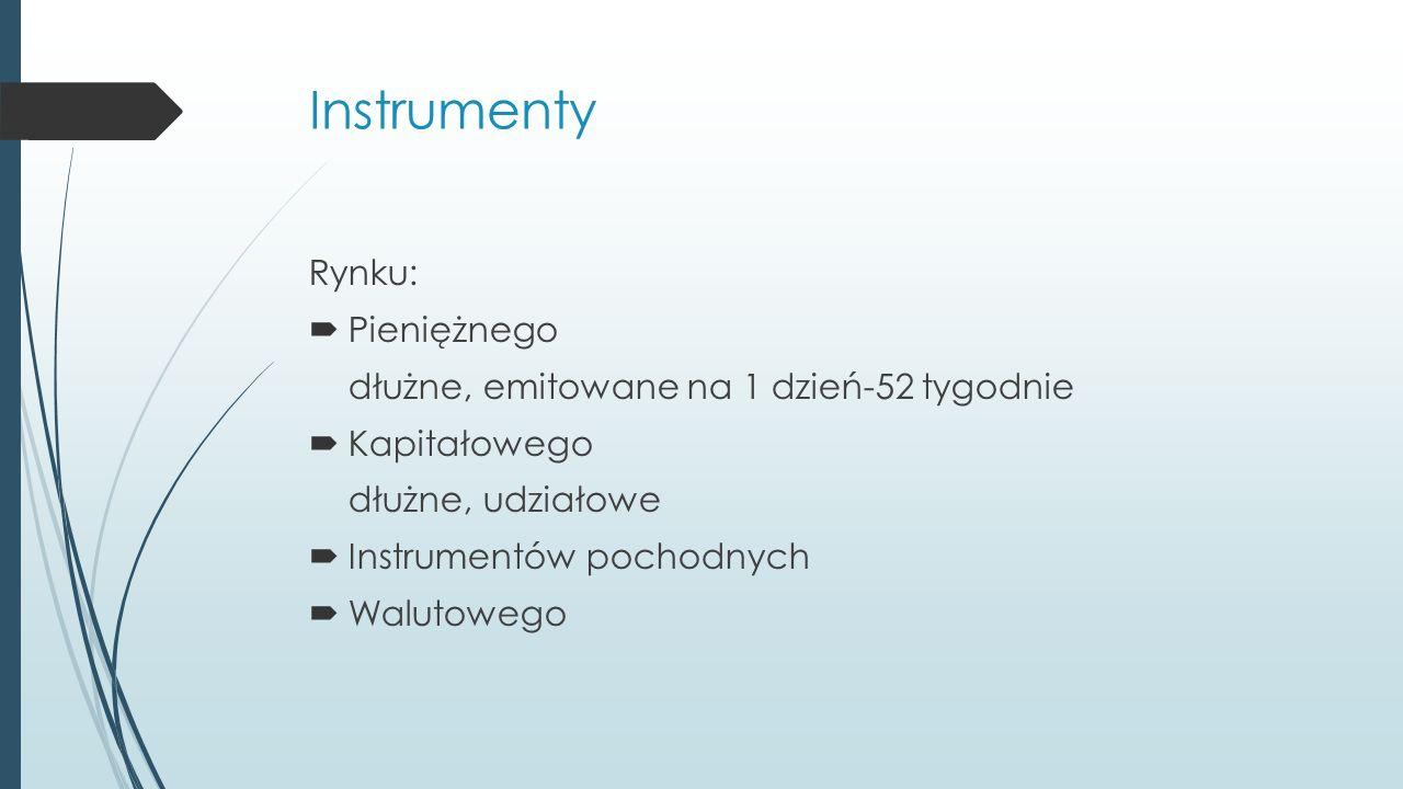 Instrumenty Rynku:  Pieniężnego dłużne, emitowane na 1 dzień-52 tygodnie  Kapitałowego dłużne, udziałowe  Instrumentów pochodnych  Walutowego