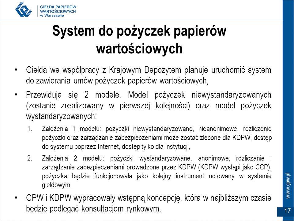 17 System do pożyczek papierów wartościowych Giełda we współpracy z Krajowym Depozytem planuje uruchomić system do zawierania umów pożyczek papierów w