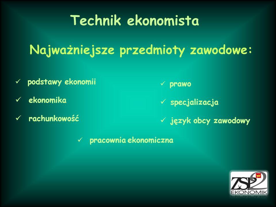 Technik ekonomista Najważniejsze przedmioty zawodowe: podstawy ekonomii ekonomika rachunkowość prawo specjalizacja język obcy zawodowy pracownia ekonomiczna
