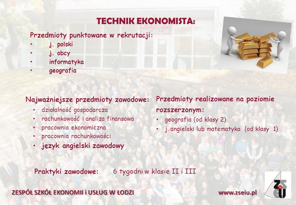 TECHNIK EKONOMISTA: Przedmioty punktowane w rekrutacji: j. polski j. obcy informatyka geografia ZESPÓŁ SZKÓŁ EKONOMII i USŁUG W ŁODZI www.zseiu.pl Naj