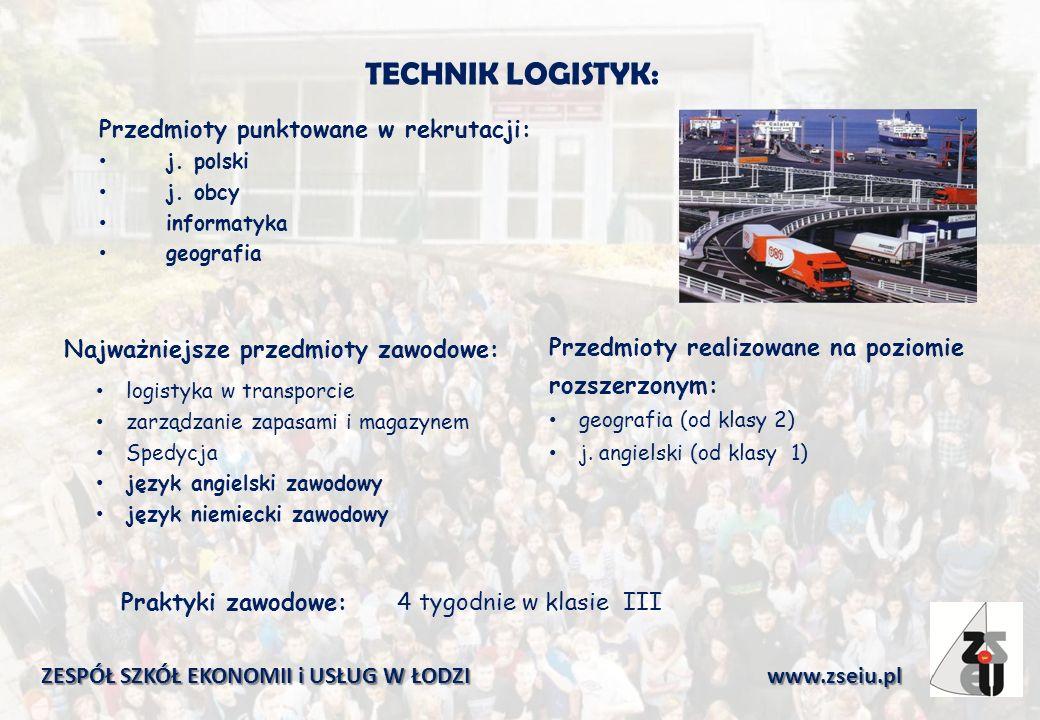 TECHNIK LOGISTYK: Przedmioty punktowane w rekrutacji: j.