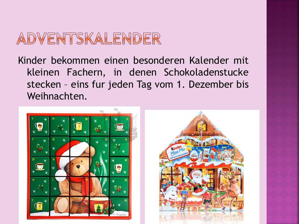 Kinder bekommen einen besonderen Kalender mit kleinen Fachern, in denen Schokoladenstucke stecken – eins fur jeden Tag vom 1.