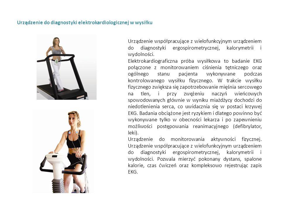 Urządzenie do diagnostyki elektrokardiologicznej w wysiłku Urządzenie współpracujące z wielofunkcyjnym urządzeniem do diagnostyki ergospirometrycznej, kalorymetrii i wydolności.