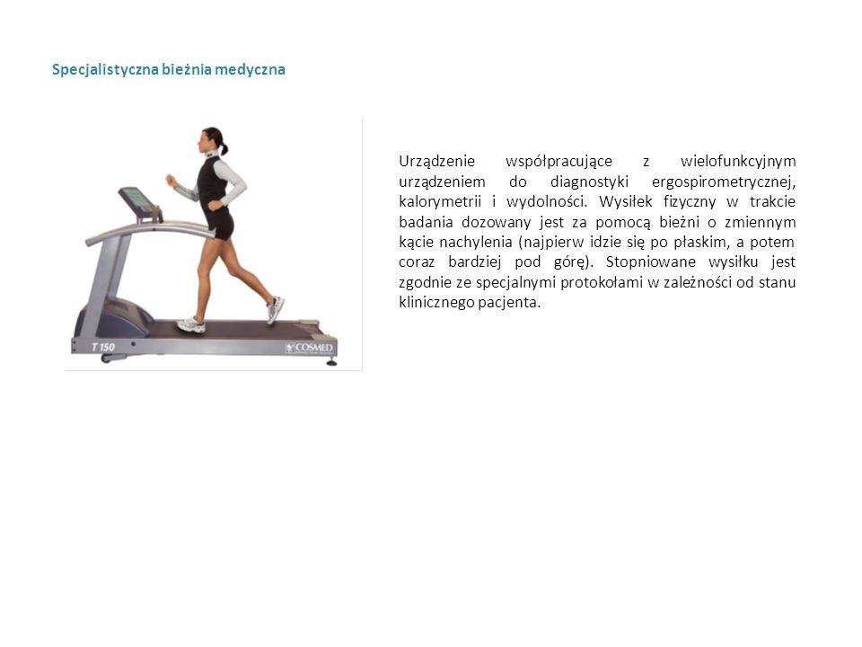 Specjalistyczna bieżnia medyczna Urządzenie współpracujące z wielofunkcyjnym urządzeniem do diagnostyki ergospirometrycznej, kalorymetrii i wydolności.