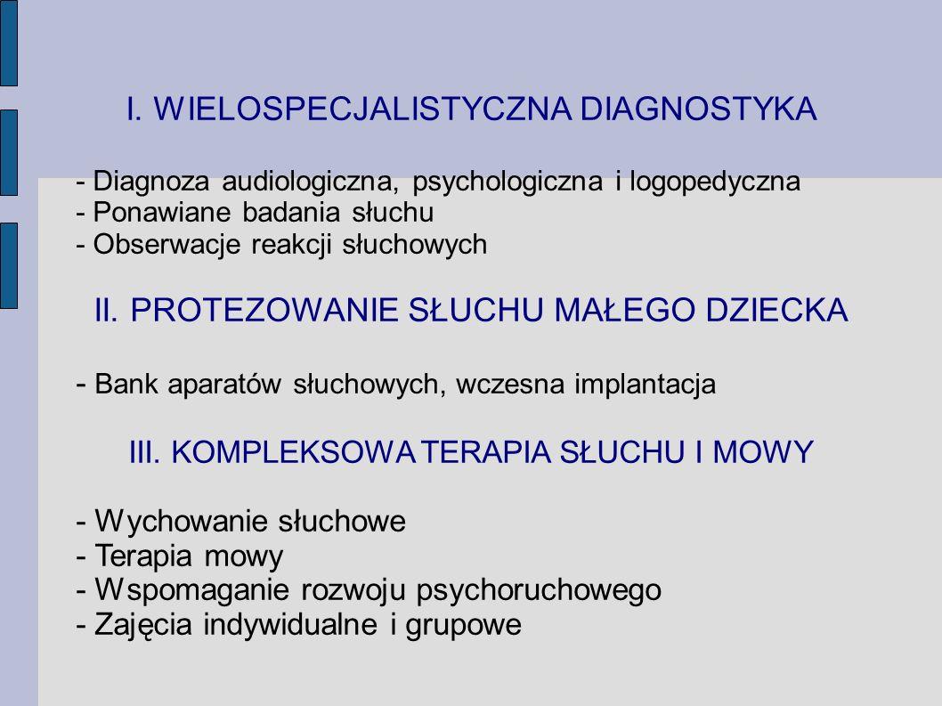 I. WIELOSPECJALISTYCZNA DIAGNOSTYKA - Diagnoza audiologiczna, psychologiczna i logopedyczna - Ponawiane badania słuchu - Obserwacje reakcji słuchowych