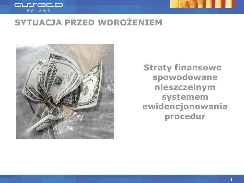 Straty finansowe spowodowane nieszczelnym systemem ewidencjonowania procedur SYTUACJA PRZED WDROŻENIEM 3