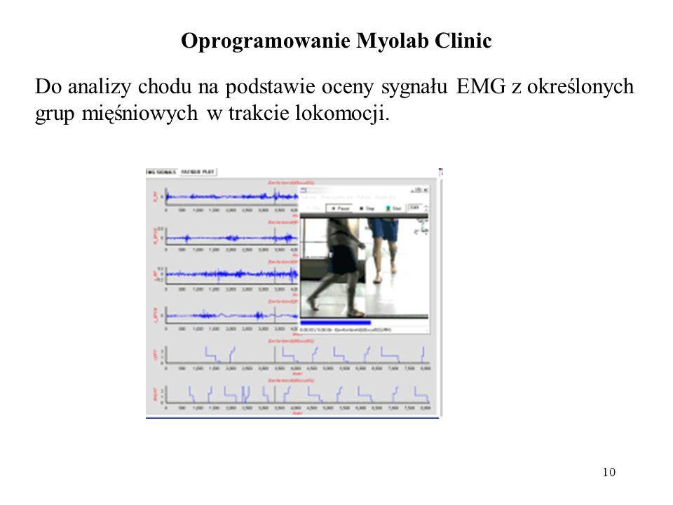 10 Oprogramowanie Myolab Clinic Do analizy chodu na podstawie oceny sygnału EMG z określonych grup mięśniowych w trakcie lokomocji.