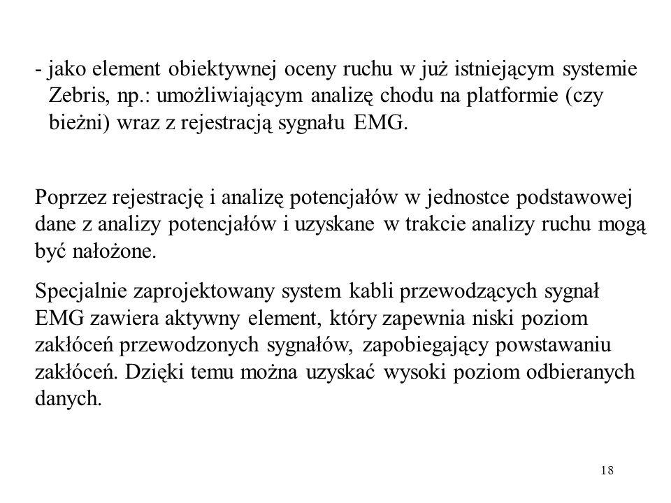 18 - jako element obiektywnej oceny ruchu w już istniejącym systemie Zebris, np.: umożliwiającym analizę chodu na platformie (czy bieżni) wraz z rejes