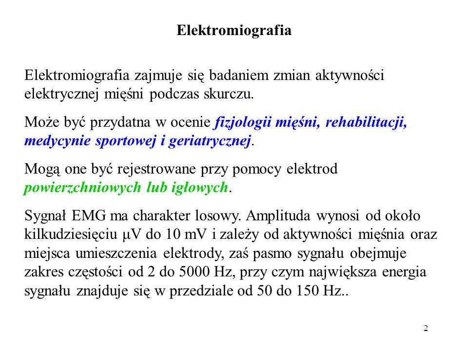 2 Elektromiografia zajmuje się badaniem zmian aktywności elektrycznej mięśni podczas skurczu.