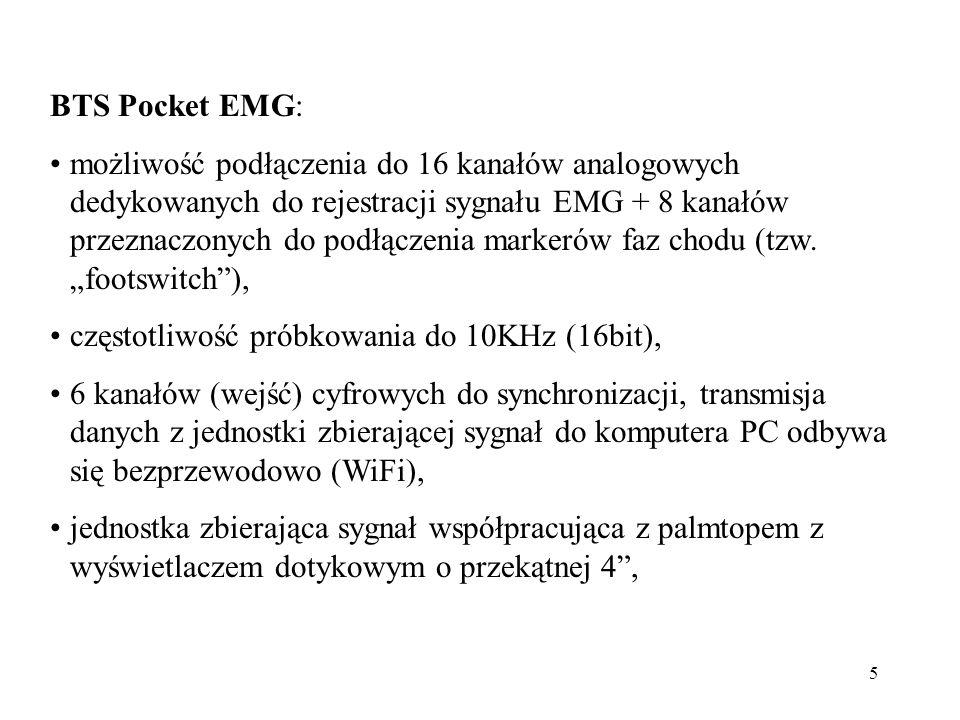 5 BTS Pocket EMG: możliwość podłączenia do 16 kanałów analogowych dedykowanych do rejestracji sygnału EMG + 8 kanałów przeznaczonych do podłączenia markerów faz chodu (tzw.