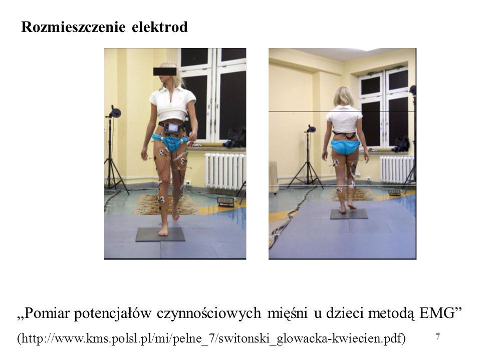 """7 Rozmieszczenie elektrod """"Pomiar potencjałów czynnościowych mięśni u dzieci metodą EMG (http://www.kms.polsl.pl/mi/pelne_7/switonski_glowacka-kwiecien.pdf)"""