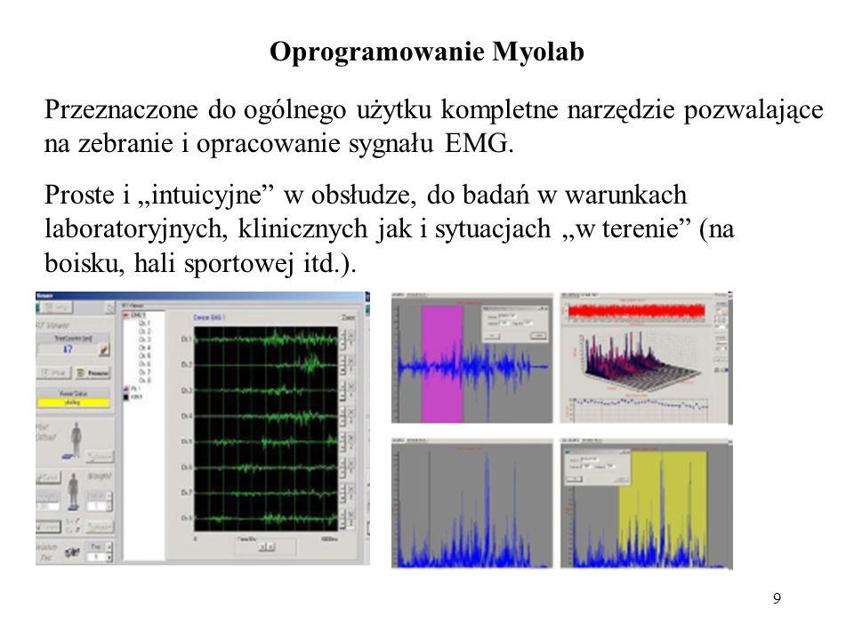 """9 Oprogramowanie Myolab Przeznaczone do ogólnego użytku kompletne narzędzie pozwalające na zebranie i opracowanie sygnału EMG. Proste i """"intuicyjne"""" w"""