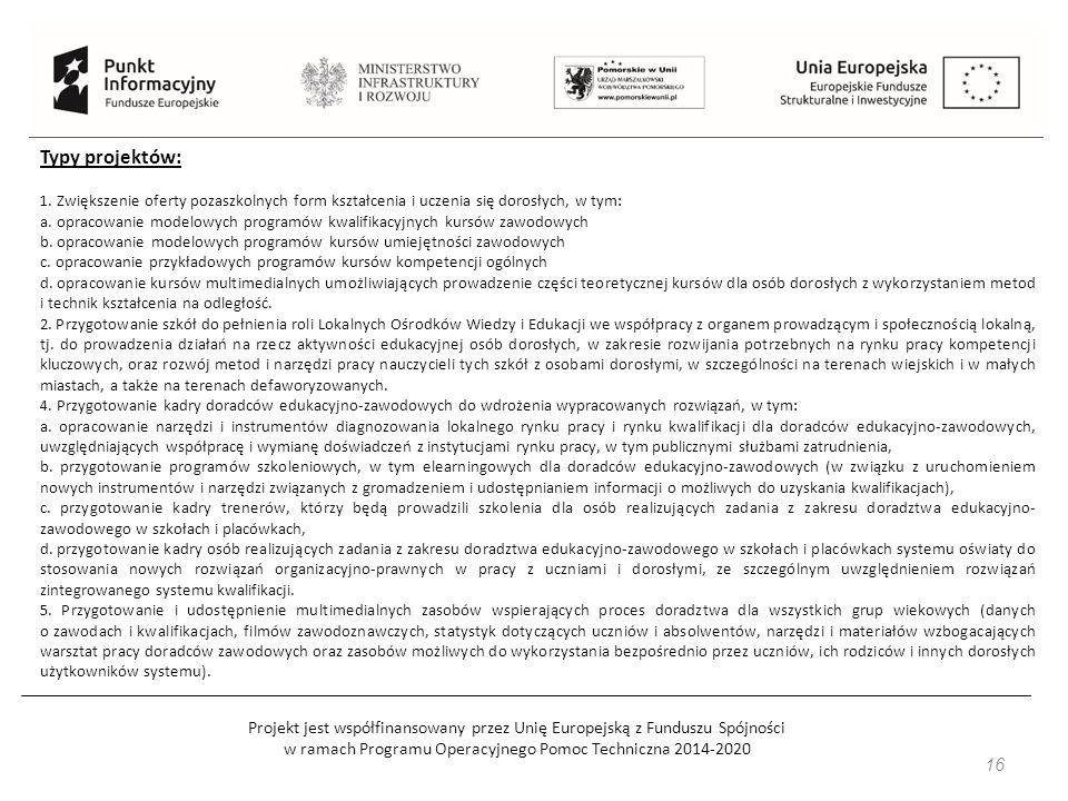 Projekt jest współfinansowany przez Unię Europejską z Funduszu Spójności w ramach Programu Operacyjnego Pomoc Techniczna 2014-2020 16 Typy projektów: 1.