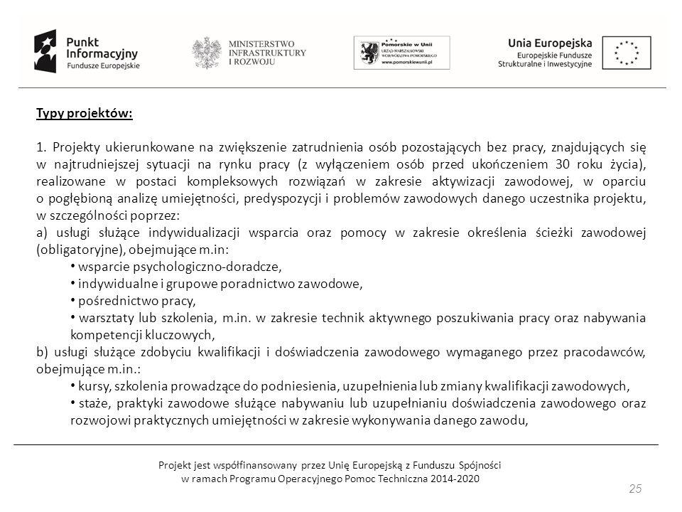 Projekt jest współfinansowany przez Unię Europejską z Funduszu Spójności w ramach Programu Operacyjnego Pomoc Techniczna 2014-2020 25 Typy projektów: 1.
