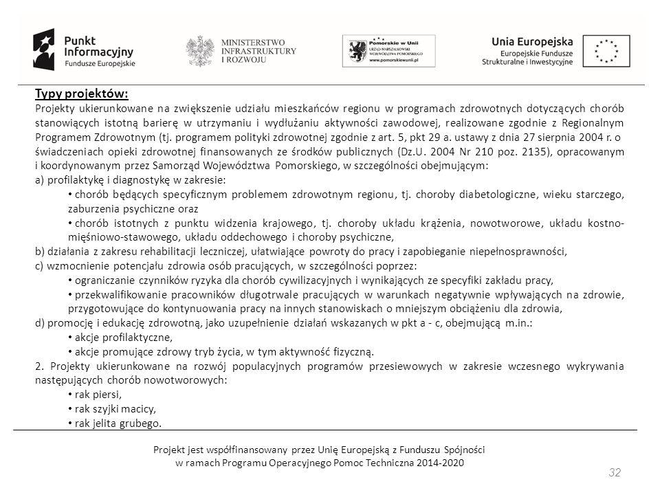 Projekt jest współfinansowany przez Unię Europejską z Funduszu Spójności w ramach Programu Operacyjnego Pomoc Techniczna 2014-2020 32 Typy projektów: Projekty ukierunkowane na zwiększenie udziału mieszkańców regionu w programach zdrowotnych dotyczących chorób stanowiących istotną barierę w utrzymaniu i wydłużaniu aktywności zawodowej, realizowane zgodnie z Regionalnym Programem Zdrowotnym (tj.