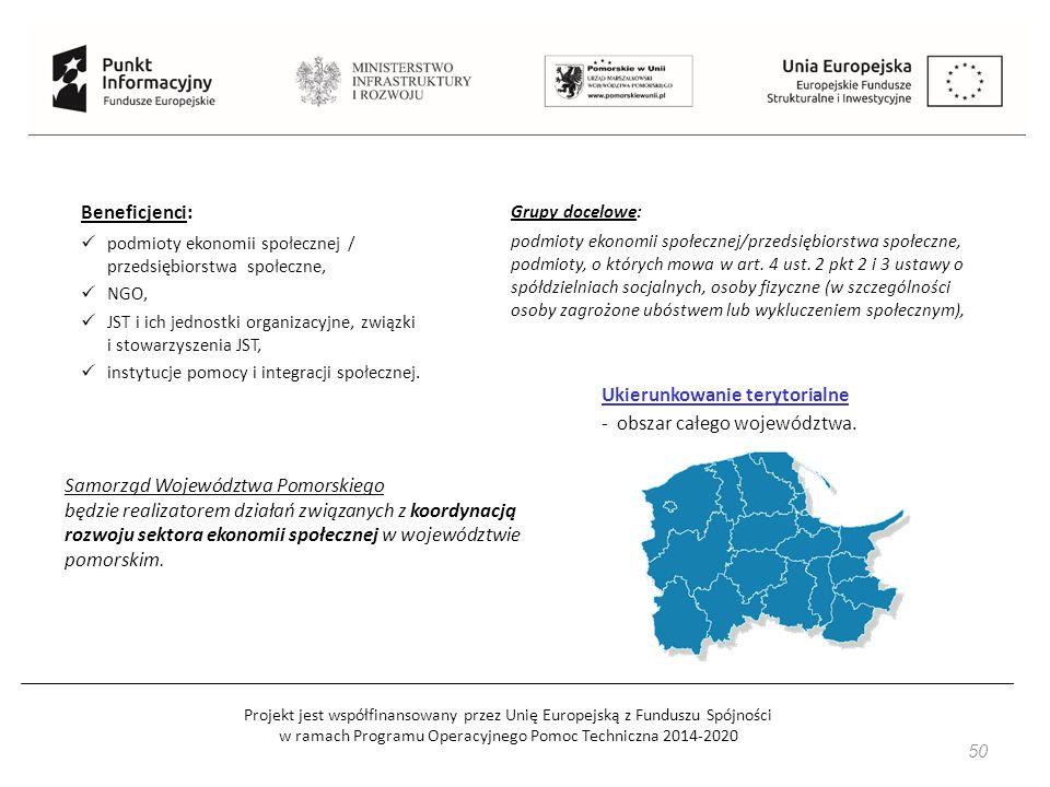 Projekt jest współfinansowany przez Unię Europejską z Funduszu Spójności w ramach Programu Operacyjnego Pomoc Techniczna 2014-2020 50 Beneficjenci: podmioty ekonomii społecznej / przedsiębiorstwa społeczne, NGO, JST i ich jednostki organizacyjne, związki i stowarzyszenia JST, instytucje pomocy i integracji społecznej.