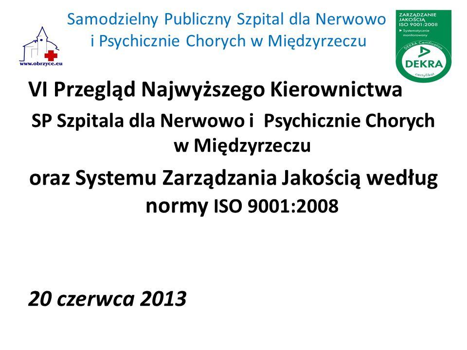 Samodzielny Publiczny Szpital dla Nerwowo i Psychicznie Chorych w Międzyrzeczu VI Przegląd Najwyższego Kierownictwa SP Szpitala dla Nerwowo i Psychicznie Chorych w Międzyrzeczu oraz Systemu Zarządzania Jakością według normy ISO 9001:2008 20 czerwca 2013