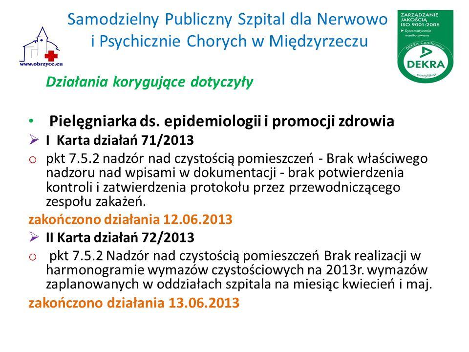 Samodzielny Publiczny Szpital dla Nerwowo i Psychicznie Chorych w Międzyrzeczu Działania korygujące dotyczyły Pielęgniarka ds. epidemiologii i promocj