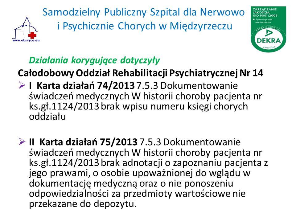 Samodzielny Publiczny Szpital dla Nerwowo i Psychicznie Chorych w Międzyrzeczu Działania korygujące dotyczyły Całodobowy Oddział Rehabilitacji Psychia