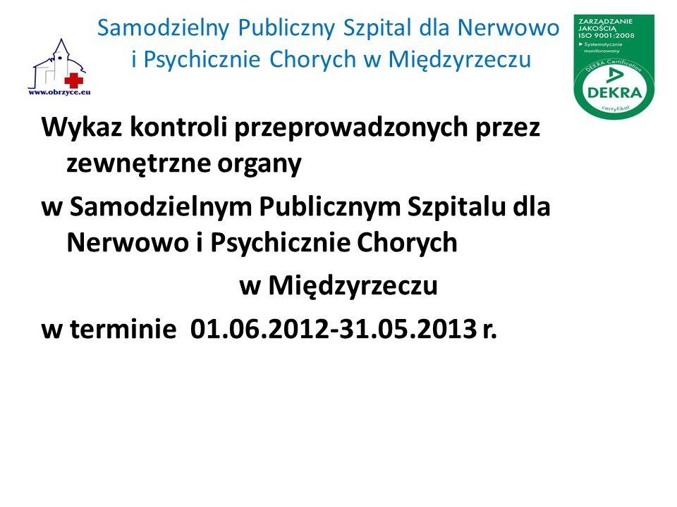 Samodzielny Publiczny Szpital dla Nerwowo i Psychicznie Chorych w Międzyrzeczu Wykaz kontroli przeprowadzonych przez zewnętrzne organy w Samodzielnym