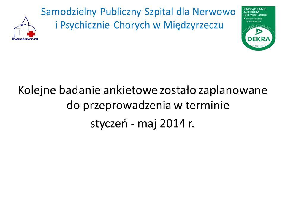 Samodzielny Publiczny Szpital dla Nerwowo i Psychicznie Chorych w Międzyrzeczu Kolejne badanie ankietowe zostało zaplanowane do przeprowadzenia w terminie styczeń - maj 2014 r.