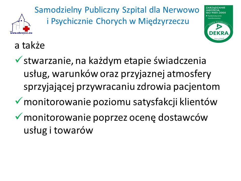 Samodzielny Publiczny Szpital dla Nerwowo i Psychicznie Chorych w Międzyrzeczu a także stwarzanie, na każdym etapie świadczenia usług, warunków oraz przyjaznej atmosfery sprzyjającej przywracaniu zdrowia pacjentom monitorowanie poziomu satysfakcji klientów monitorowanie poprzez ocenę dostawców usług i towarów