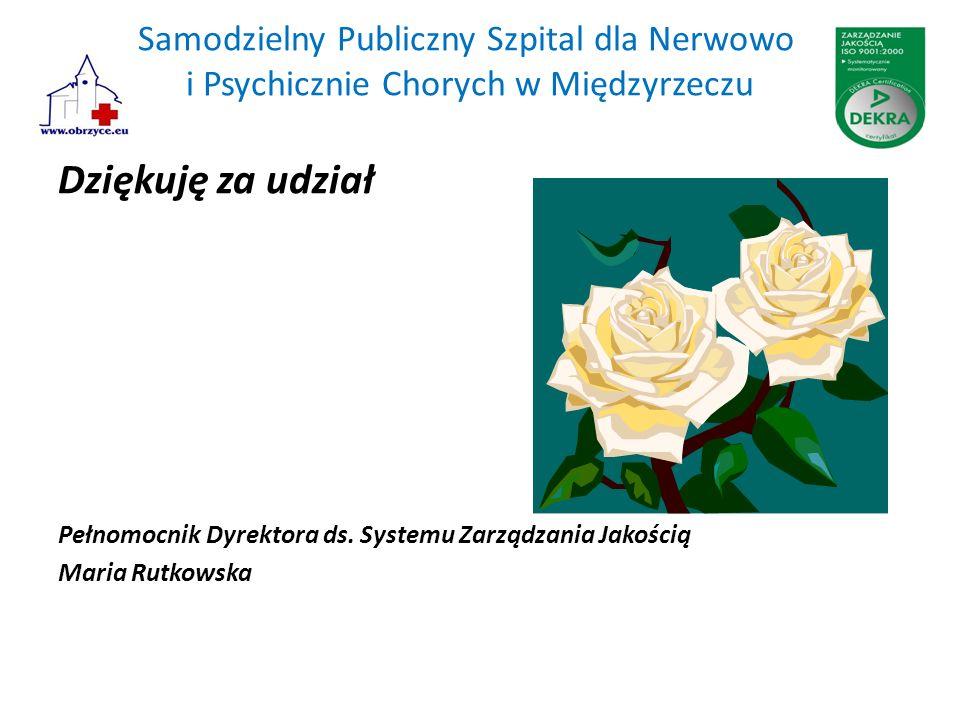 Samodzielny Publiczny Szpital dla Nerwowo i Psychicznie Chorych w Międzyrzeczu Dziękuję za udział Pełnomocnik Dyrektora ds. Systemu Zarządzania Jakośc
