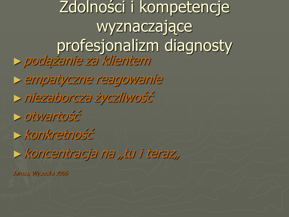 """Zdolności i kompetencje wyznaczające profesjonalizm diagnosty ► podążanie za klientem ► empatyczne reagowanie ► niezaborcza życzliwość ► otwartość ► konkretność ► koncentracja na """"tu i teraz"""" Jarosz, Wysocka 2006"""