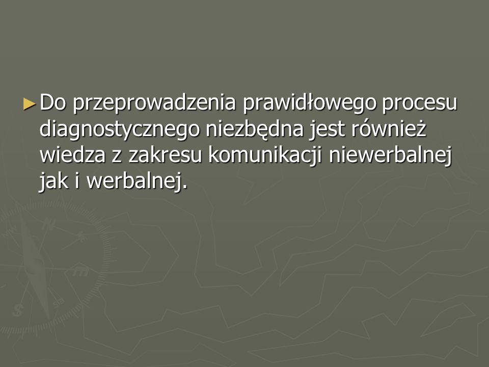 ► Do przeprowadzenia prawidłowego procesu diagnostycznego niezbędna jest również wiedza z zakresu komunikacji niewerbalnej jak i werbalnej.