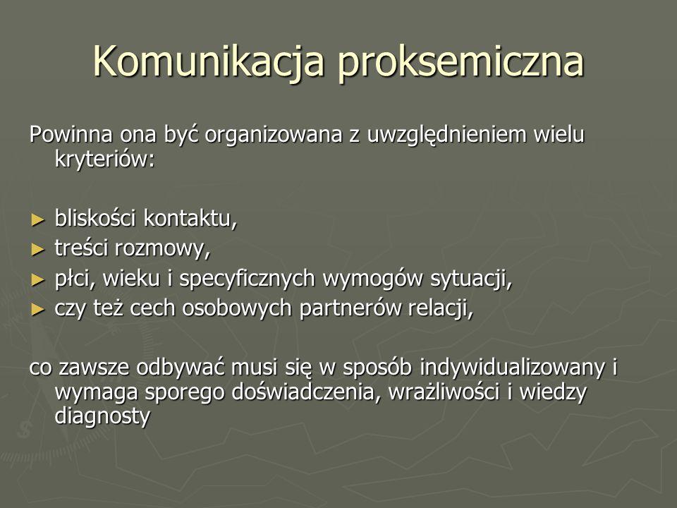 Komunikacja proksemiczna Powinna ona być organizowana z uwzględnieniem wielu kryteriów: ► bliskości kontaktu, ► treści rozmowy, ► płci, wieku i specyficznych wymogów sytuacji, ► czy też cech osobowych partnerów relacji, co zawsze odbywać musi się w sposób indywidualizowany i wymaga sporego doświadczenia, wrażliwości i wiedzy diagnosty