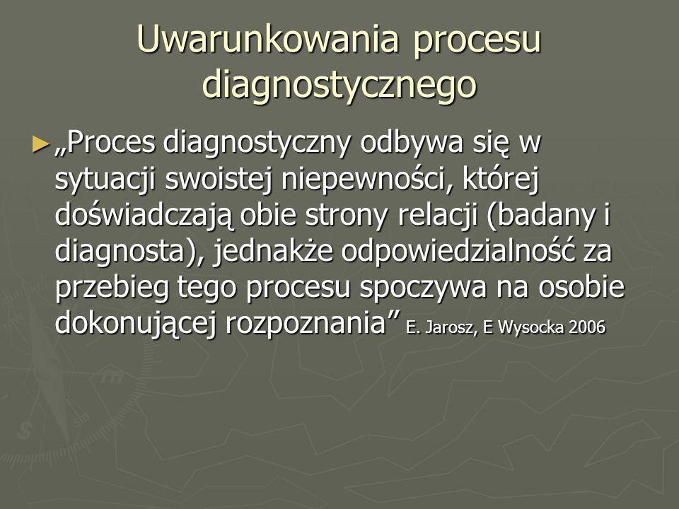 """Uwarunkowania procesu diagnostycznego ► """"Proces diagnostyczny odbywa się w sytuacji swoistej niepewności, której doświadczają obie strony relacji (badany i diagnosta), jednakże odpowiedzialność za przebieg tego procesu spoczywa na osobie dokonującej rozpoznania E."""