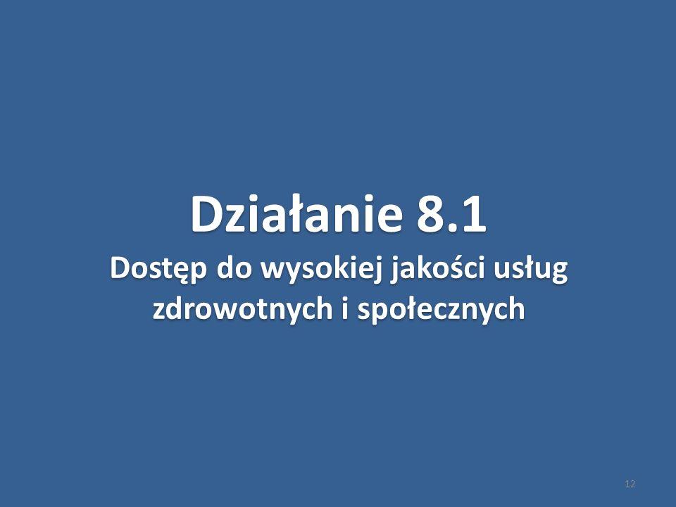 12 Działanie 8.1 Dostęp do wysokiej jakości usług zdrowotnych i społecznych Działanie 8.1 Dostęp do wysokiej jakości usług zdrowotnych i społecznych