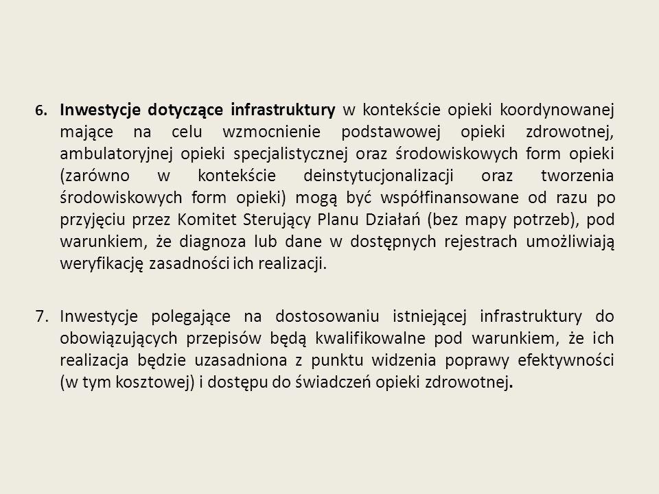 6. Inwestycje dotyczące infrastruktury w kontekście opieki koordynowanej mające na celu wzmocnienie podstawowej opieki zdrowotnej, ambulatoryjnej opie