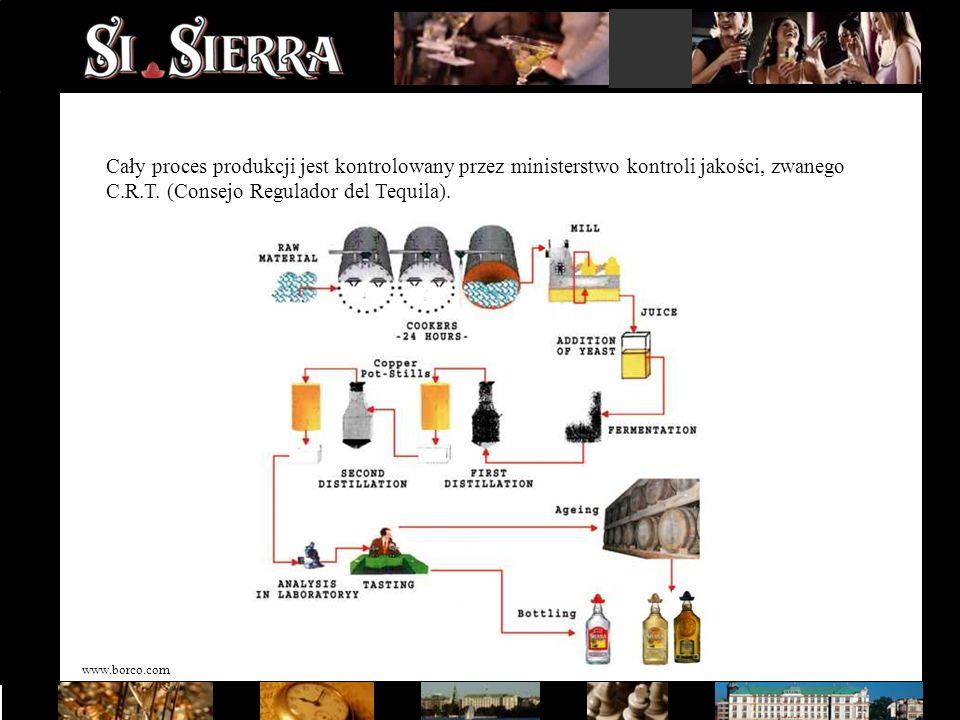www.borco.com Cały proces produkcji jest kontrolowany przez ministerstwo kontroli jakości, zwanego C.R.T. (Consejo Regulador del Tequila).