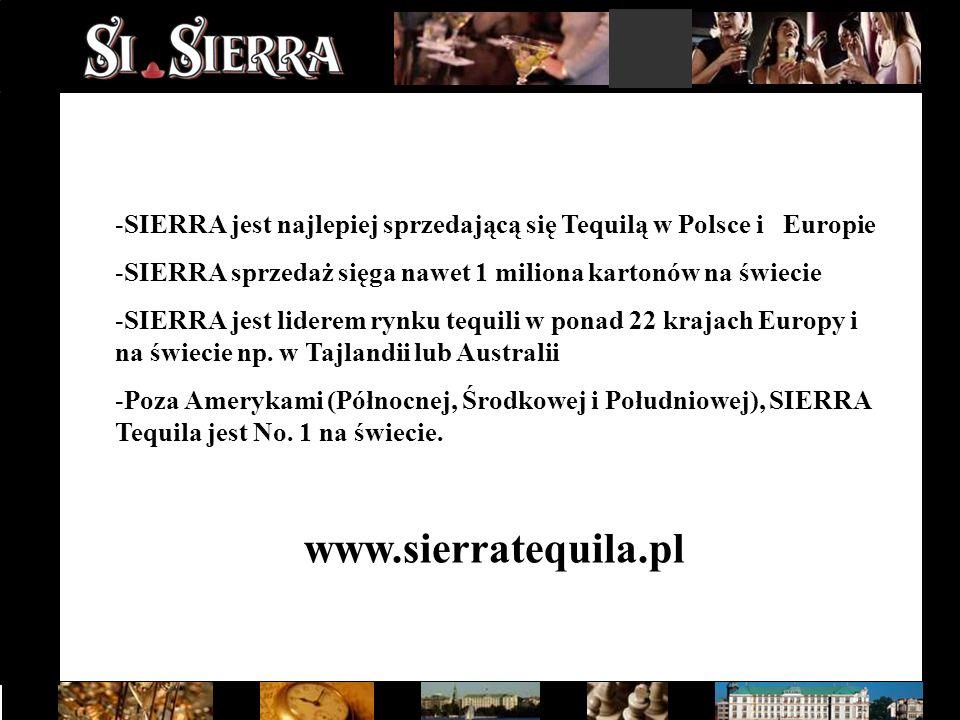 -SIERRA jest najlepiej sprzedającą się Tequilą w Polsce i Europie -SIERRA sprzedaż sięga nawet 1 miliona kartonów na świecie -SIERRA jest liderem rynk