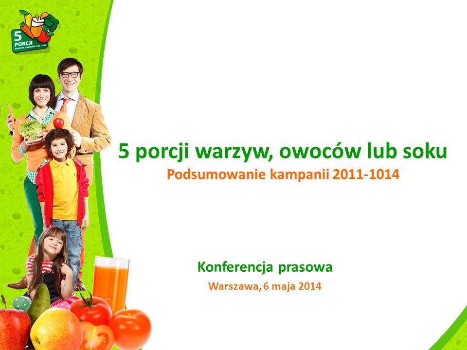 5 porcji warzyw, owoców lub soku Podsumowanie kampanii 2011-1014 Konferencja prasowa Warszawa, 6 maja 2014