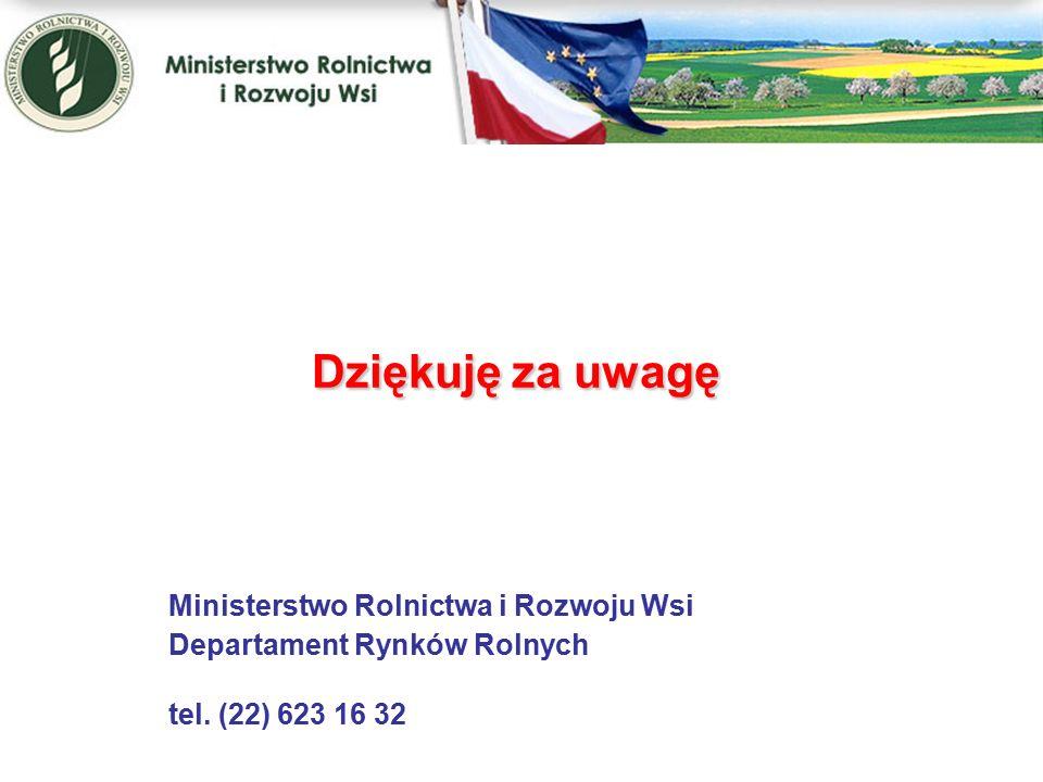 Dziękuję za uwagę Dziękuję za uwagę Ministerstwo Rolnictwa i Rozwoju Wsi Departament Rynków Rolnych tel.