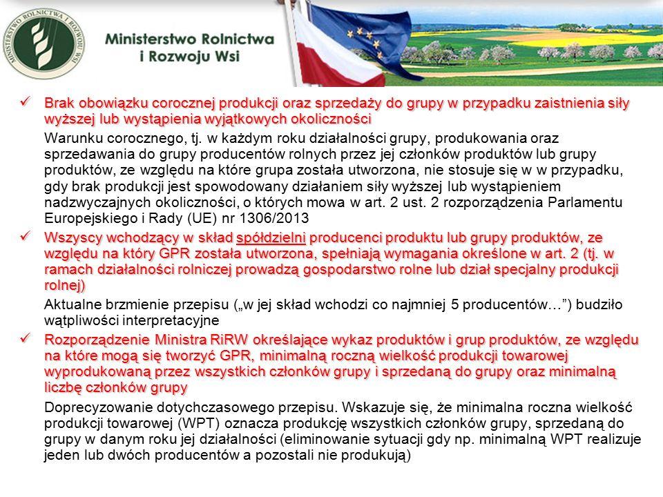 Przeniesienie kompetencji w zakresie rejestracji oraz nadzoru nad działalnością grup producentów rolnych i związków grup Przeniesienie kompetencji w zakresie rejestracji oraz nadzoru nad działalnością grup producentów rolnych i związków grup Konieczność wzmocnienia i ujednolicenia nadzoru nad działalnością grup producentów rolnych jest kolejnym wnioskiem z ustaleń pokontrolnych ETO i KE.