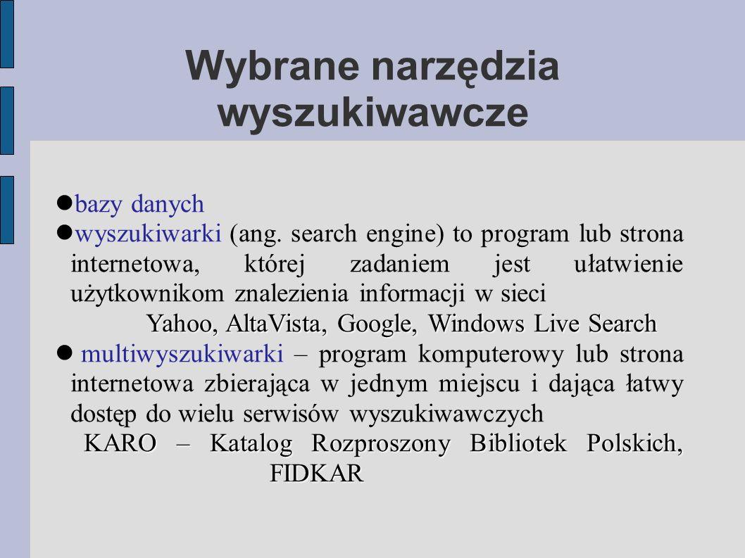 bazy danych wyszukiwarki (ang.