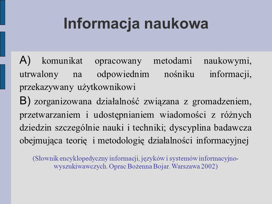 Język informacyjny specjalistyczny język sztuczny, przeznaczony do reprezentowania podstawowej treści dokumentu w celu umożliwienia wyszukania ze zbioru tylko tych dokumentów, które odpowiadają na pytanie zadane przez użytkownika