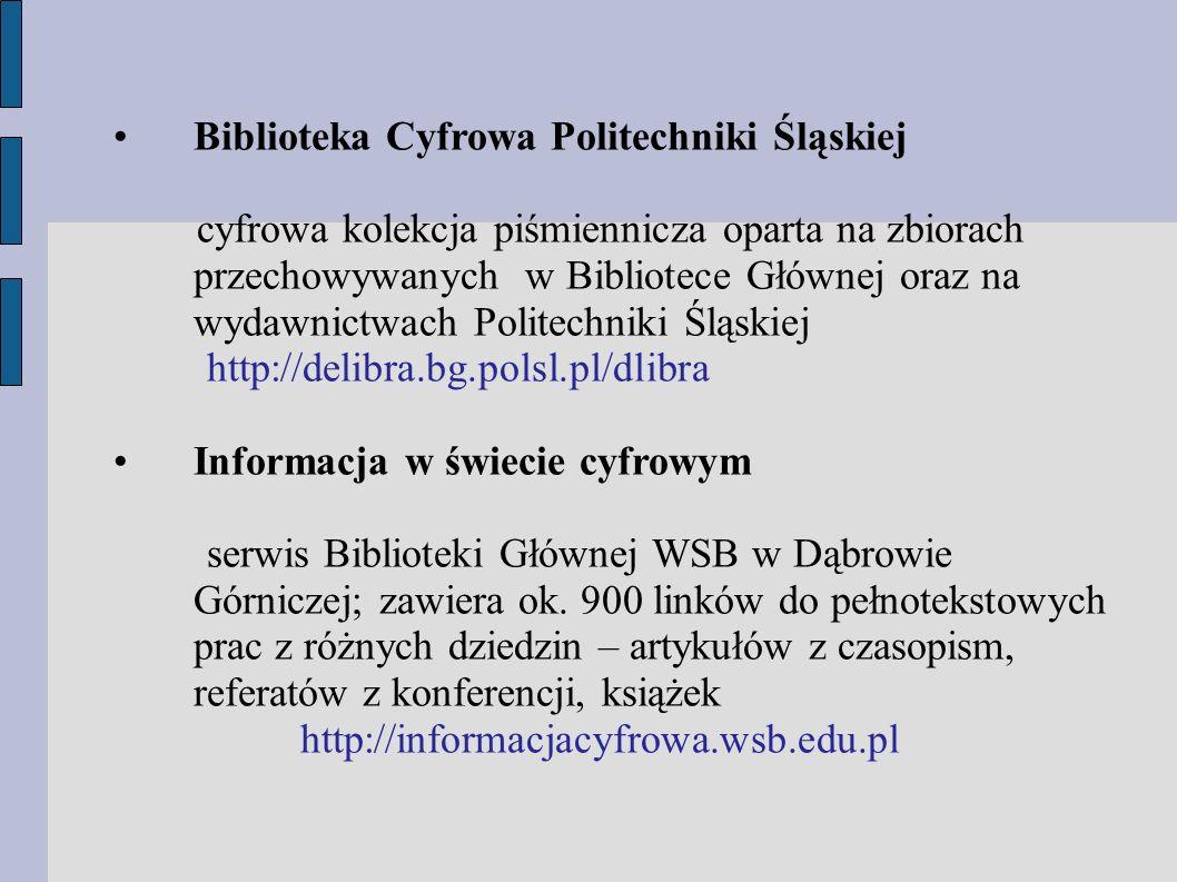 Zadanie na zaliczenie: opracowanie strategii wyszukiwawczej i wyszukanie w bazach danych określonego terminu wyszukiwawczego biblioteka.cieszyn@wsb.edu.pl