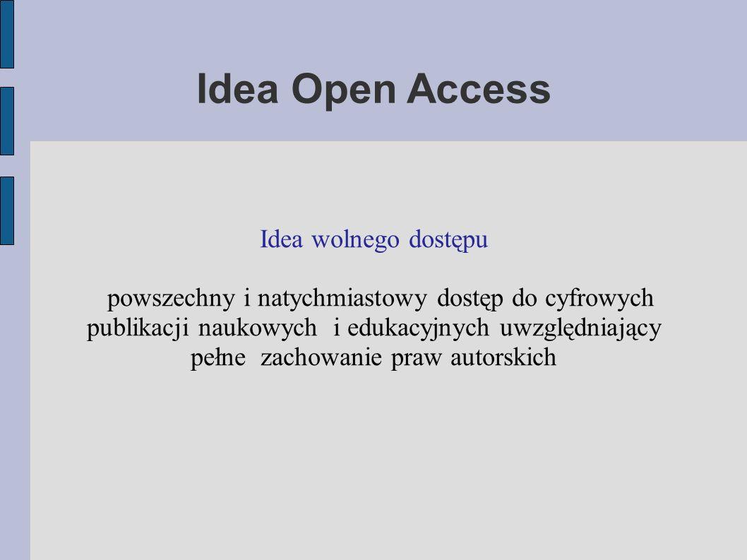 Idea Open Access Idea wolnego dostępu powszechny i natychmiastowy dostęp do cyfrowych publikacji naukowych i edukacyjnych uwzględniający pełne zachowanie praw autorskich