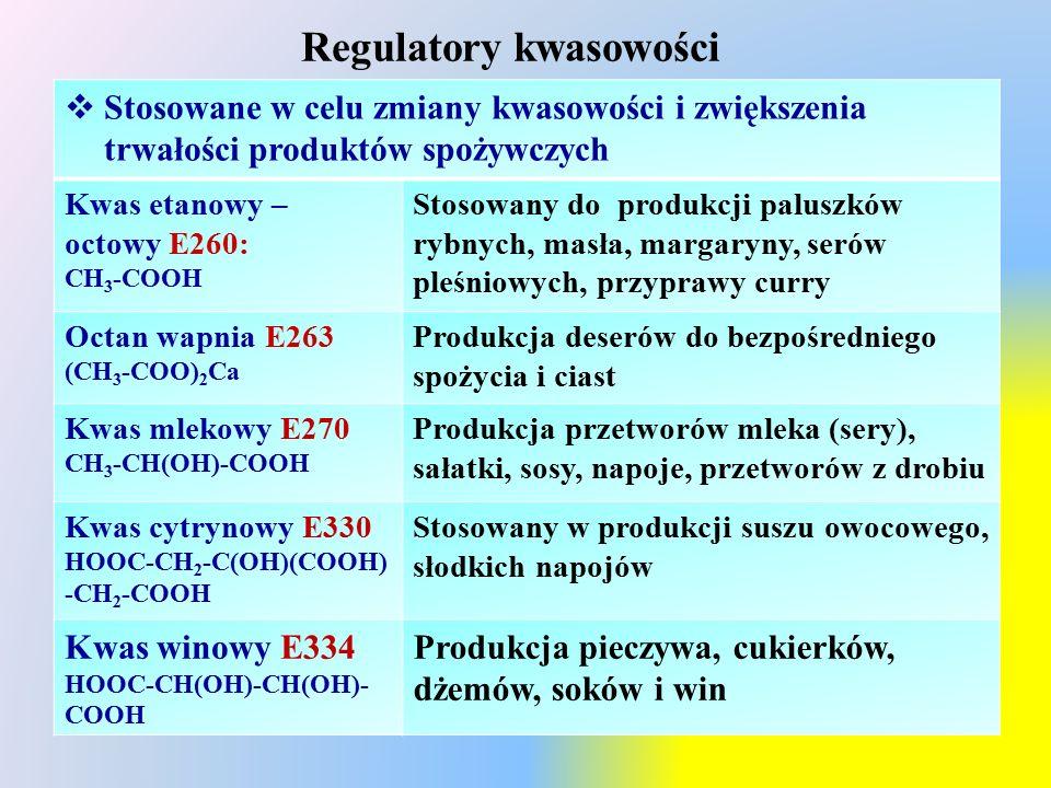 Regulatory kwasowości  Stosowane w celu zmiany kwasowości i zwiększenia trwałości produktów spożywczych Kwas etanowy – octowy E260: CH 3 -COOH Stosowany do produkcji paluszków rybnych, masła, margaryny, serów pleśniowych, przyprawy curry Octan wapnia E263 (CH 3 -COO) 2 Ca Produkcja deserów do bezpośredniego spożycia i ciast Kwas mlekowy E270 CH 3 -CH(OH)-COOH Produkcja przetworów mleka (sery), sałatki, sosy, napoje, przetworów z drobiu Kwas cytrynowy E330 HOOC-CH 2 -C(OH)(COOH) -CH 2 -COOH Stosowany w produkcji suszu owocowego, słodkich napojów Kwas winowy E334 HOOC-CH(OH)-CH(OH)- COOH Produkcja pieczywa, cukierków, dżemów, soków i win