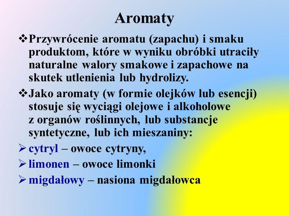 Aromaty  Przywrócenie aromatu (zapachu) i smaku produktom, które w wyniku obróbki utraciły naturalne walory smakowe i zapachowe na skutek utlenienia lub hydrolizy.