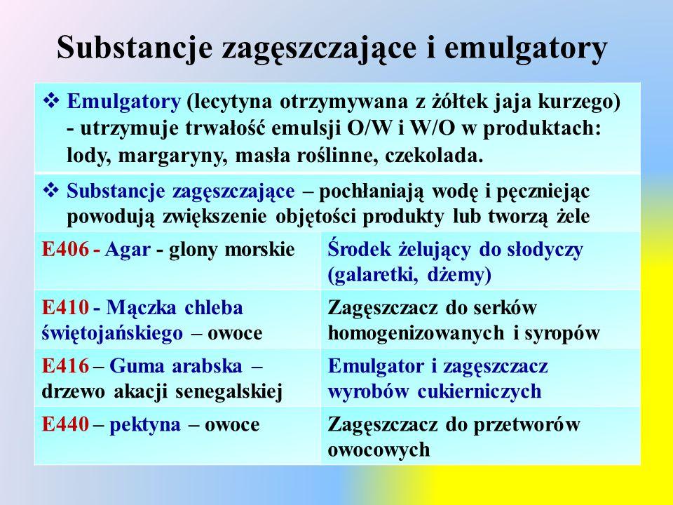 Substancje zagęszczające i emulgatory  Emulgatory (lecytyna otrzymywana z żółtek jaja kurzego) - utrzymuje trwałość emulsji O/W i W/O w produktach: lody, margaryny, masła roślinne, czekolada.