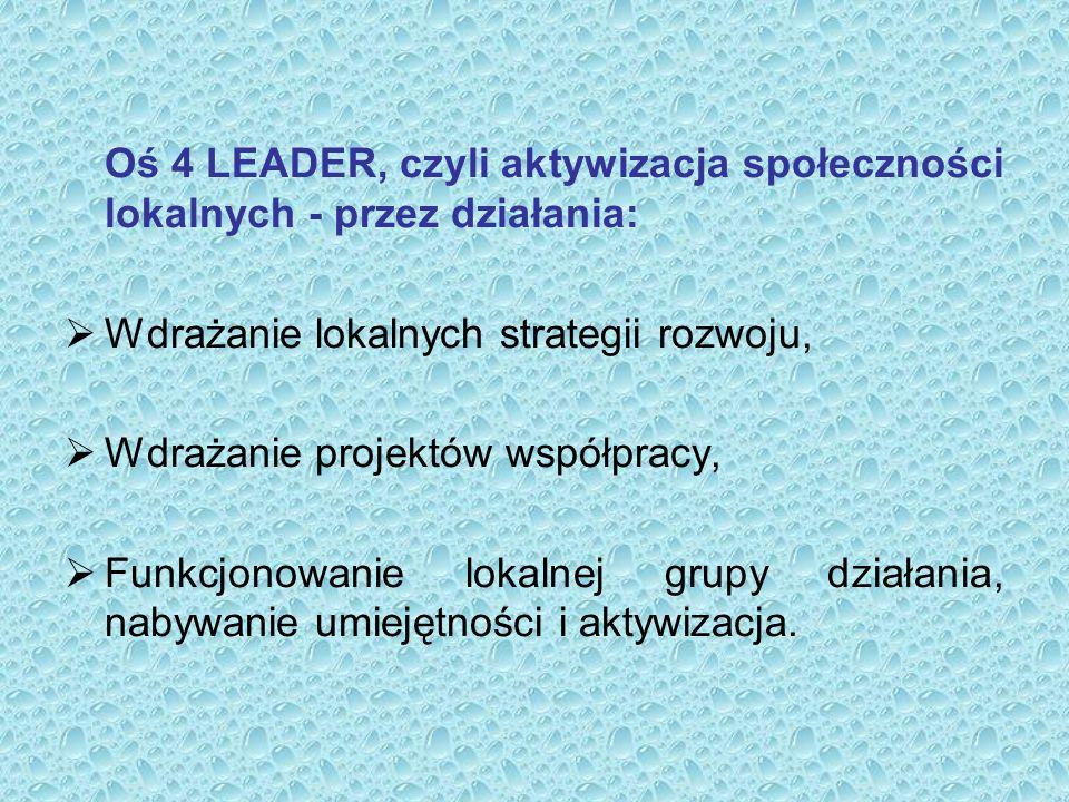 Oś 4 LEADER, czyli aktywizacja społeczności lokalnych - przez działania:  Wdrażanie lokalnych strategii rozwoju,  Wdrażanie projektów współpracy,  Funkcjonowanie lokalnej grupy działania, nabywanie umiejętności i aktywizacja.