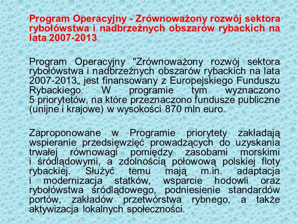 """Program Operacyjny - Zrównoważony rozwój sektora rybołówstwa i nadbrzeżnych obszarów rybackich na lata 2007-2013 Program Operacyjny Zrównoważony rozwój sektora rybołówstwa i nadbrzeżnych obszarów rybackich na lata 2007-2013"""" jest finansowany z Europejskiego Funduszu Rybackiego."""