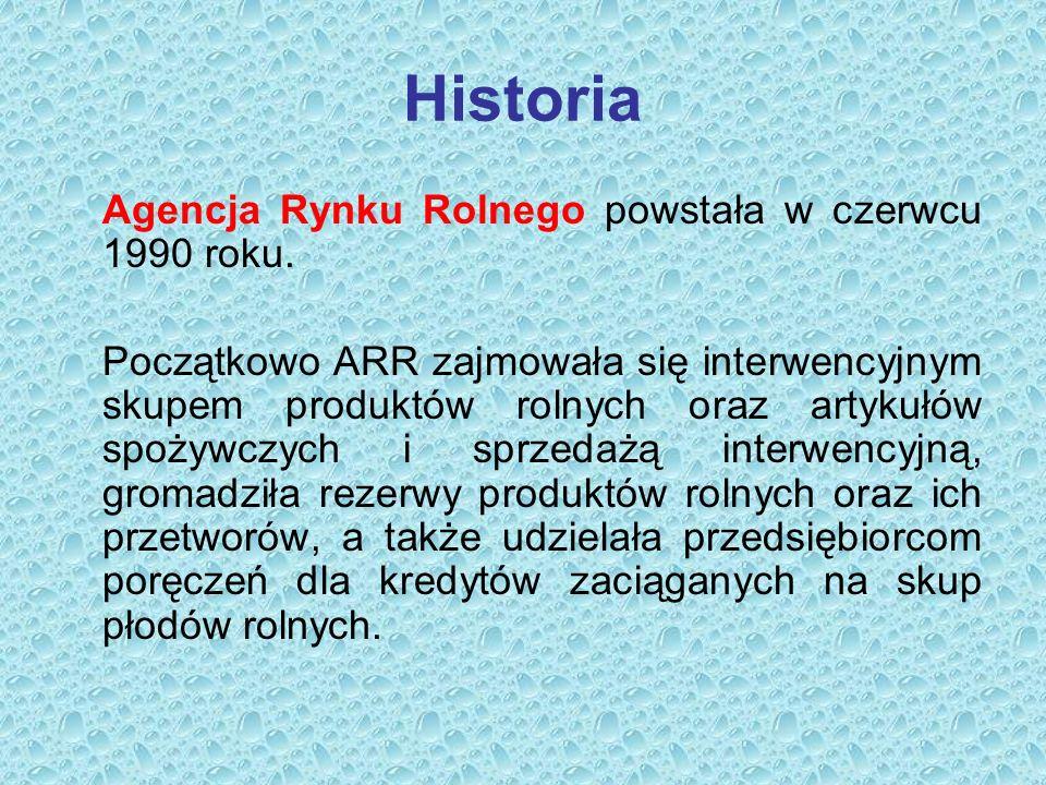 Historia Agencja Rynku Rolnego powstała w czerwcu 1990 roku.